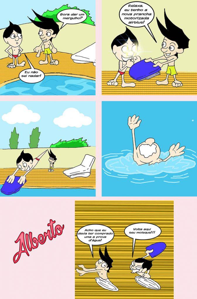 Na piscina com Alberto e em seguida